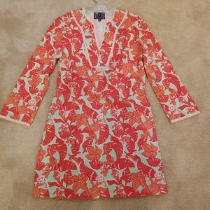 Sail to Sable Monkey Print Stretch Dress/Tunic EUC